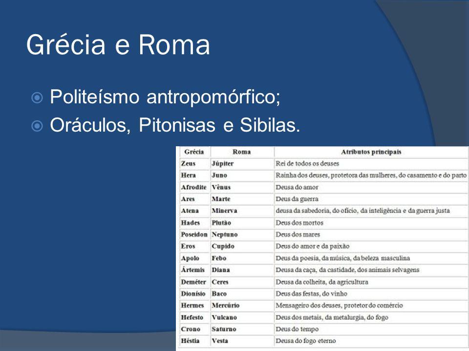 Grécia e Roma Politeísmo antropomórfico; Oráculos, Pitonisas e Sibilas.