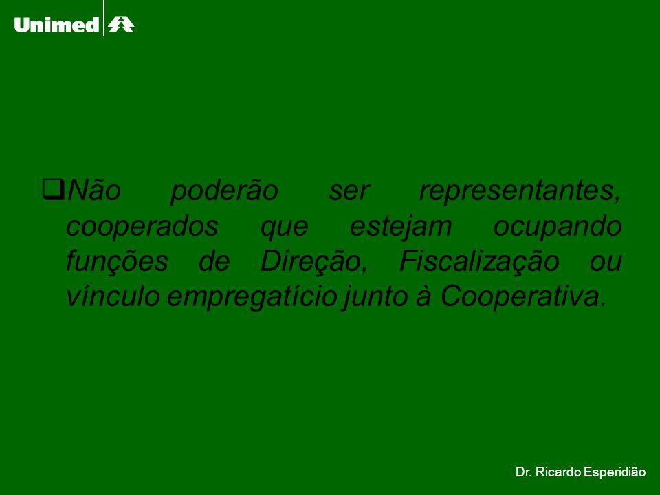 Não poderão ser representantes, cooperados que estejam ocupando funções de Direção, Fiscalização ou vínculo empregatício junto à Cooperativa. Dr. Rica
