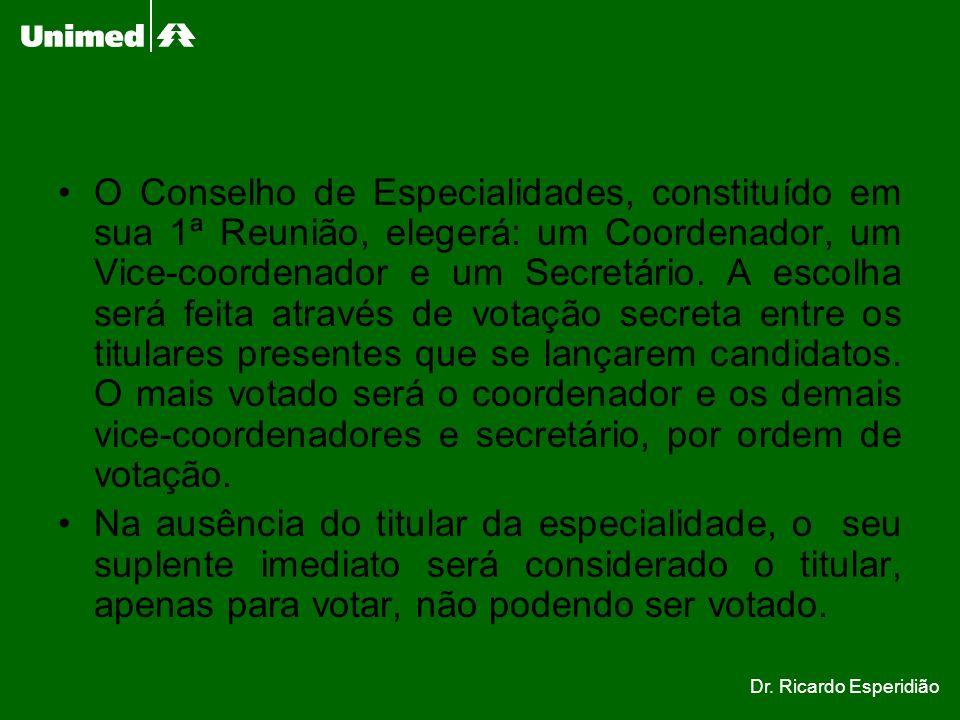 O Conselho de Especialidades, constituído em sua 1ª Reunião, elegerá: um Coordenador, um Vice-coordenador e um Secretário. A escolha será feita atravé