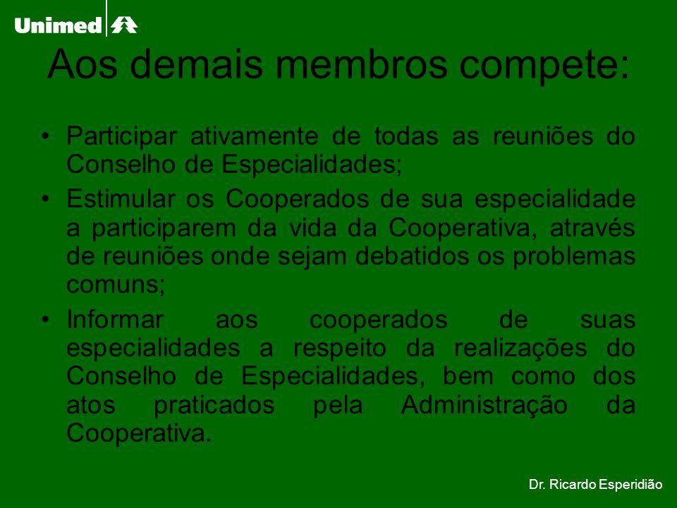 Aos demais membros compete: Participar ativamente de todas as reuniões do Conselho de Especialidades; Estimular os Cooperados de sua especialidade a p