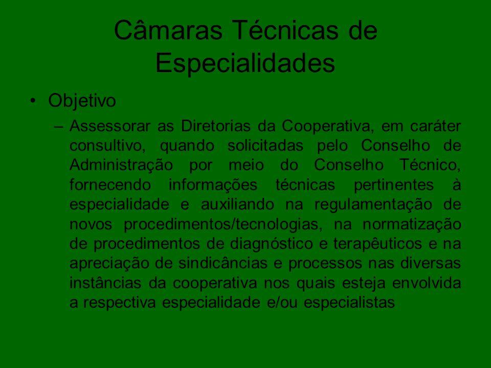Câmaras Técnicas de Especialidades Objetivo –Assessorar as Diretorias da Cooperativa, em caráter consultivo, quando solicitadas pelo Conselho de Admin