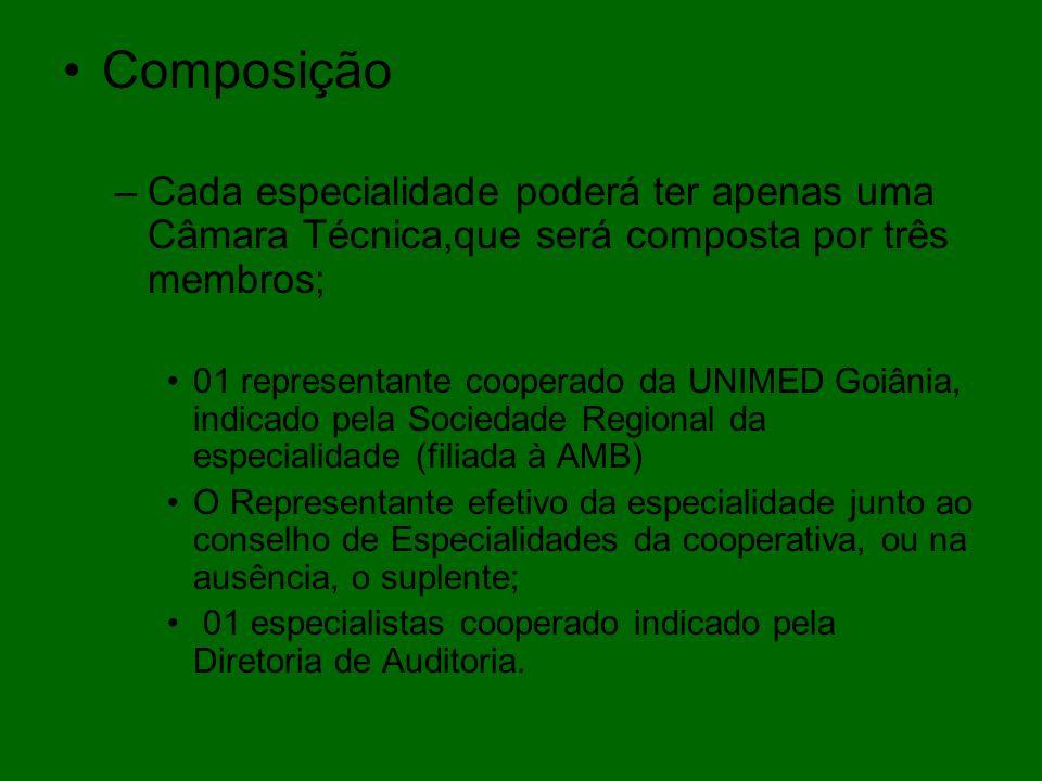 Composição –Cada especialidade poderá ter apenas uma Câmara Técnica,que será composta por três membros; 01 representante cooperado da UNIMED Goiânia,