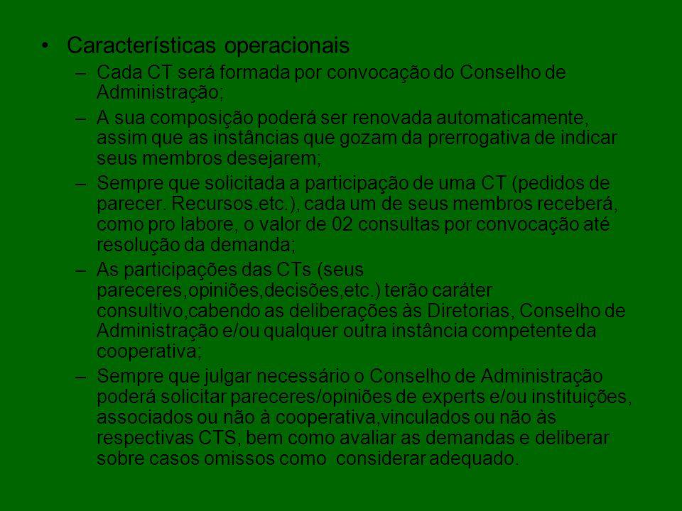 Características operacionais –Cada CT será formada por convocação do Conselho de Administração; –A sua composição poderá ser renovada automaticamente,