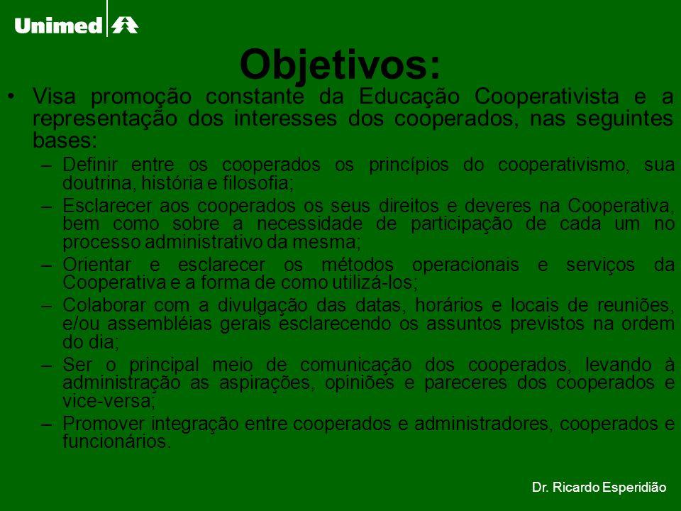 Objetivos: Visa promoção constante da Educação Cooperativista e a representação dos interesses dos cooperados, nas seguintes bases: –Definir entre os