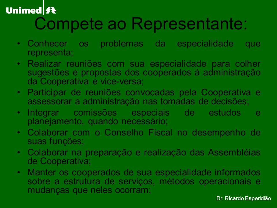 Compete ao Representante: Conhecer os problemas da especialidade que representa; Realizar reuniões com sua especialidade para colher sugestões e propo