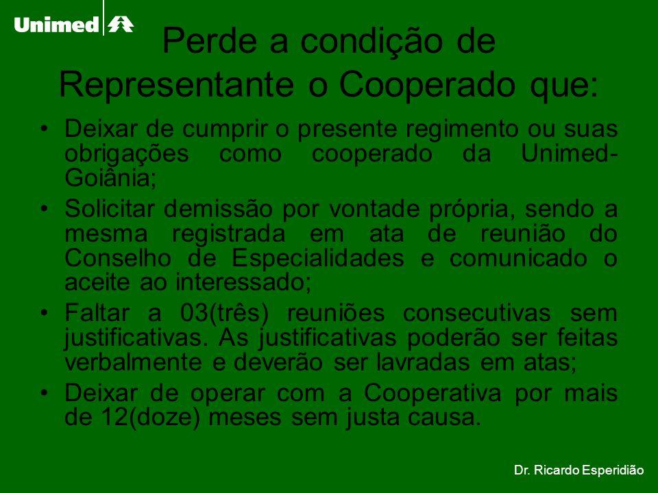 Perde a condição de Representante o Cooperado que: Deixar de cumprir o presente regimento ou suas obrigações como cooperado da Unimed- Goiânia; Solici