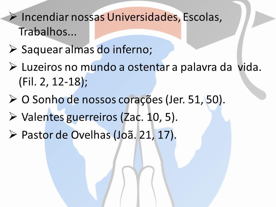 Incendiar nossas Universidades, Escolas, Trabalhos... Saquear almas do inferno; Luzeiros no mundo a ostentar a palavra da vida. (Fil. 2, 12-18); O Son