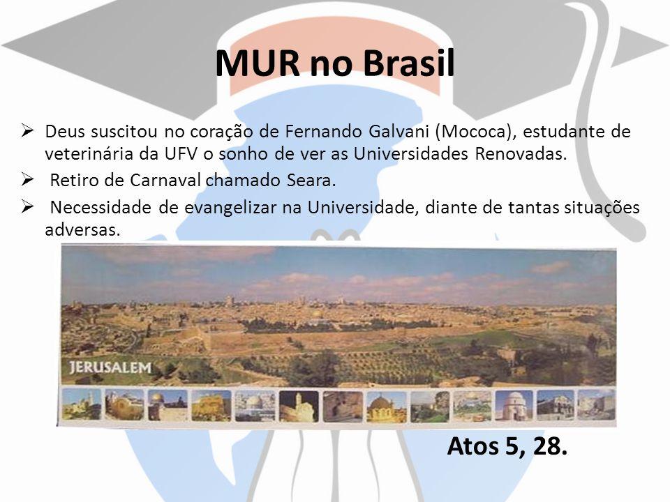 MUR no Brasil Deus suscitou no coração de Fernando Galvani (Mococa), estudante de veterinária da UFV o sonho de ver as Universidades Renovadas. Retiro
