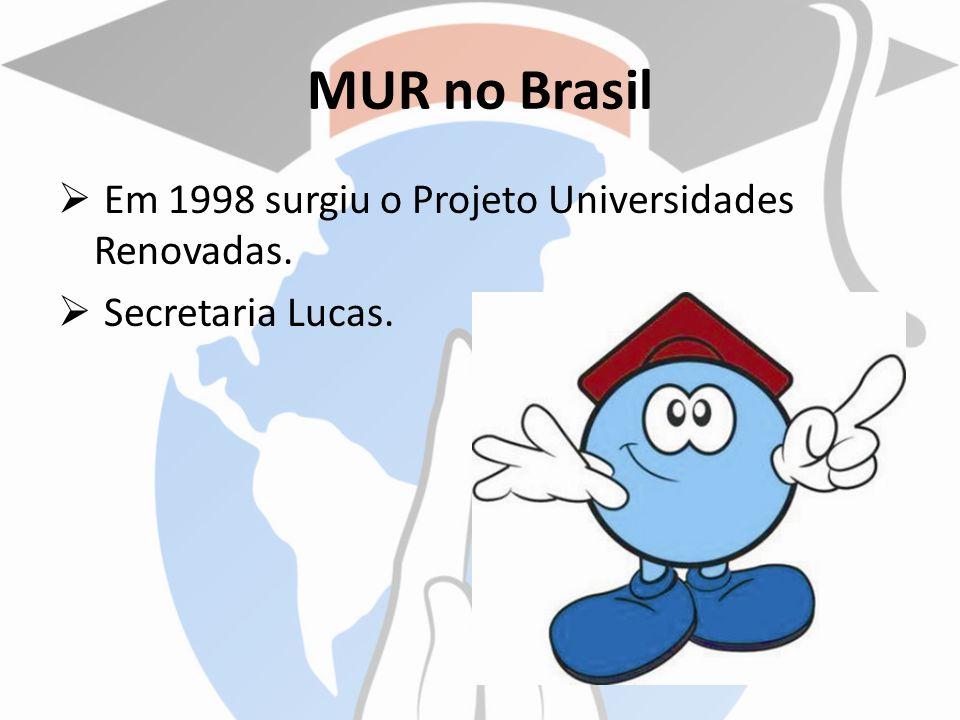 MUR no Brasil Em 1998 surgiu o Projeto Universidades Renovadas. Secretaria Lucas.