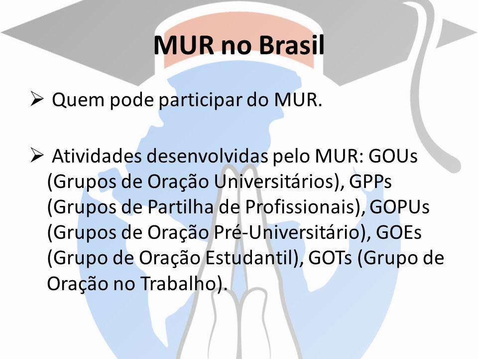 MUR no Brasil Quem pode participar do MUR. Atividades desenvolvidas pelo MUR: GOUs (Grupos de Oração Universitários), GPPs (Grupos de Partilha de Prof
