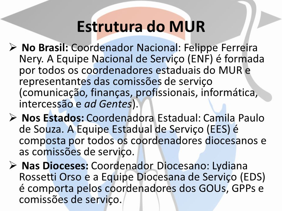 Estrutura do MUR No Brasil: Coordenador Nacional: Felippe Ferreira Nery. A Equipe Nacional de Serviço (ENF) é formada por todos os coordenadores estad