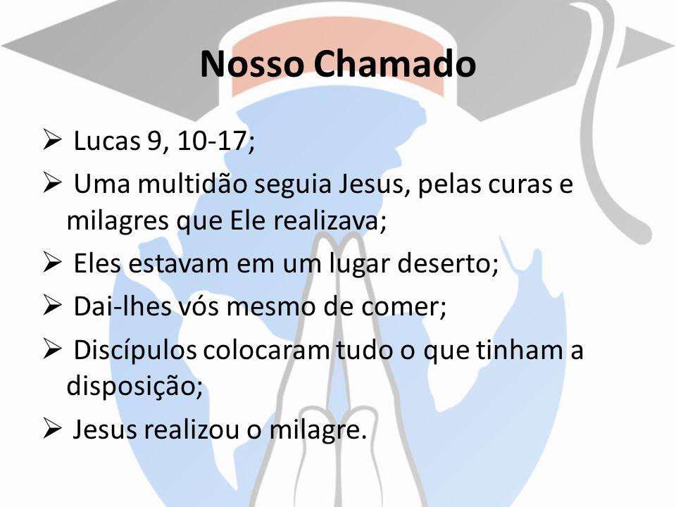 Nosso Chamado Lucas 9, 10-17; Uma multidão seguia Jesus, pelas curas e milagres que Ele realizava; Eles estavam em um lugar deserto; Dai-lhes vós mesm
