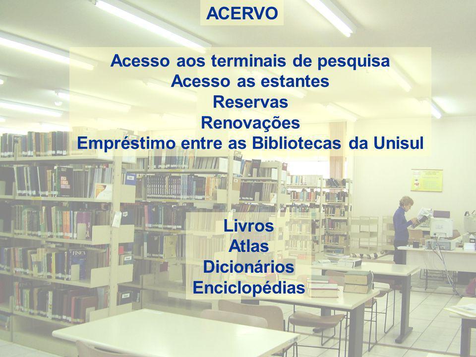 ACERVO Acesso aos terminais de pesquisa Acesso as estantes Reservas Renovações Empréstimo entre as Bibliotecas da Unisul Livros Atlas Dicionários Enci