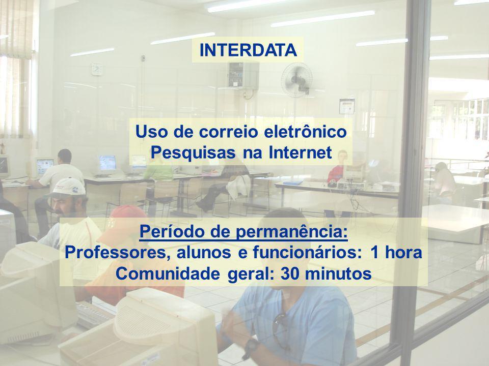 INTERDATA Uso de correio eletrônico Pesquisas na Internet Período de permanência: Professores, alunos e funcionários: 1 hora Comunidade geral: 30 minu