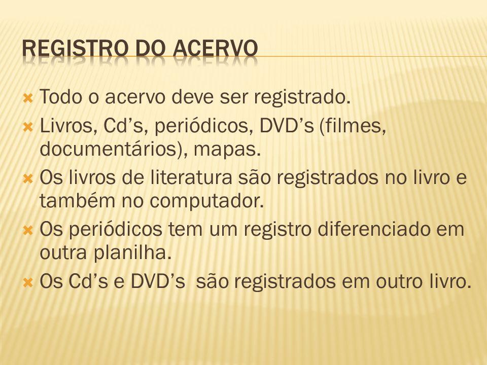 Todo o acervo deve ser registrado. Livros, Cds, periódicos, DVDs (filmes, documentários), mapas. Os livros de literatura são registrados no livro e ta