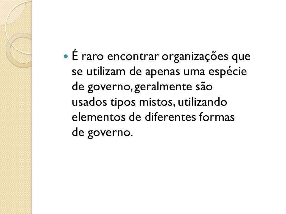 É raro encontrar organizações que se utilizam de apenas uma espécie de governo, geralmente são usados tipos mistos, utilizando elementos de diferentes