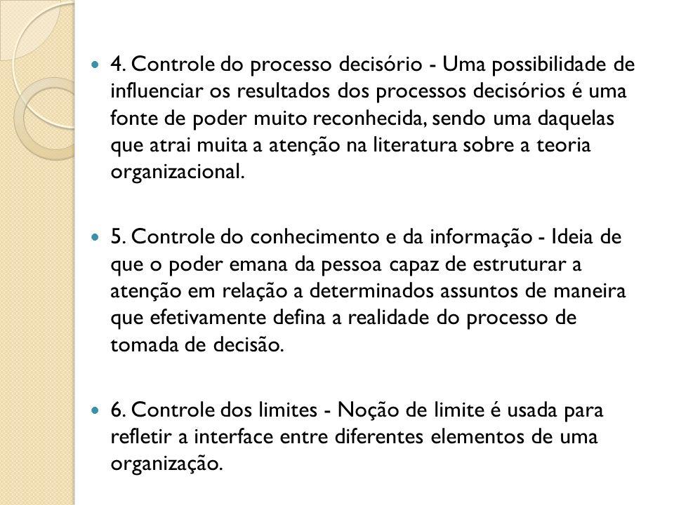 4. Controle do processo decisório - Uma possibilidade de influenciar os resultados dos processos decisórios é uma fonte de poder muito reconhecida, se
