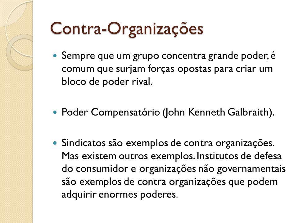 Contra-Organizações Sempre que um grupo concentra grande poder, é comum que surjam forças opostas para criar um bloco de poder rival. Poder Compensató