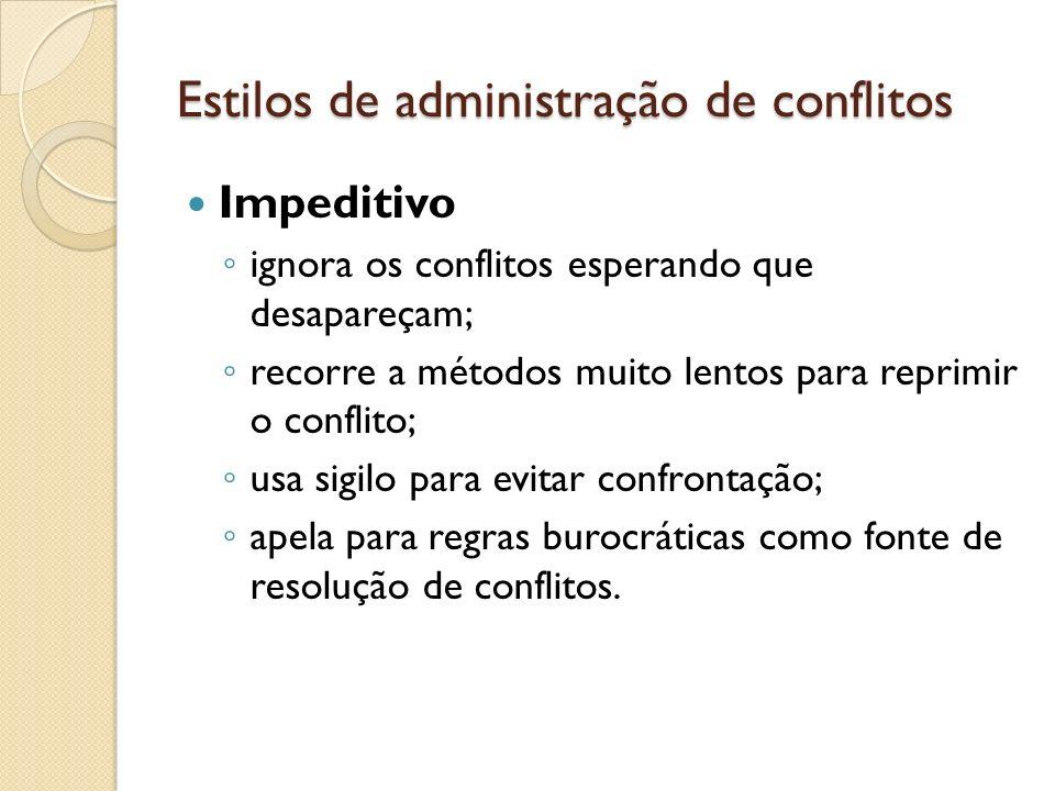 Estilos de administração de conflitos Impeditivo ignora os conflitos esperando que desapareçam; recorre a métodos muito lentos para reprimir o conflit
