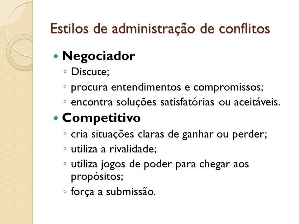Estilos de administração de conflitos Negociador Discute; procura entendimentos e compromissos; encontra soluções satisfatórias ou aceitáveis. Competi