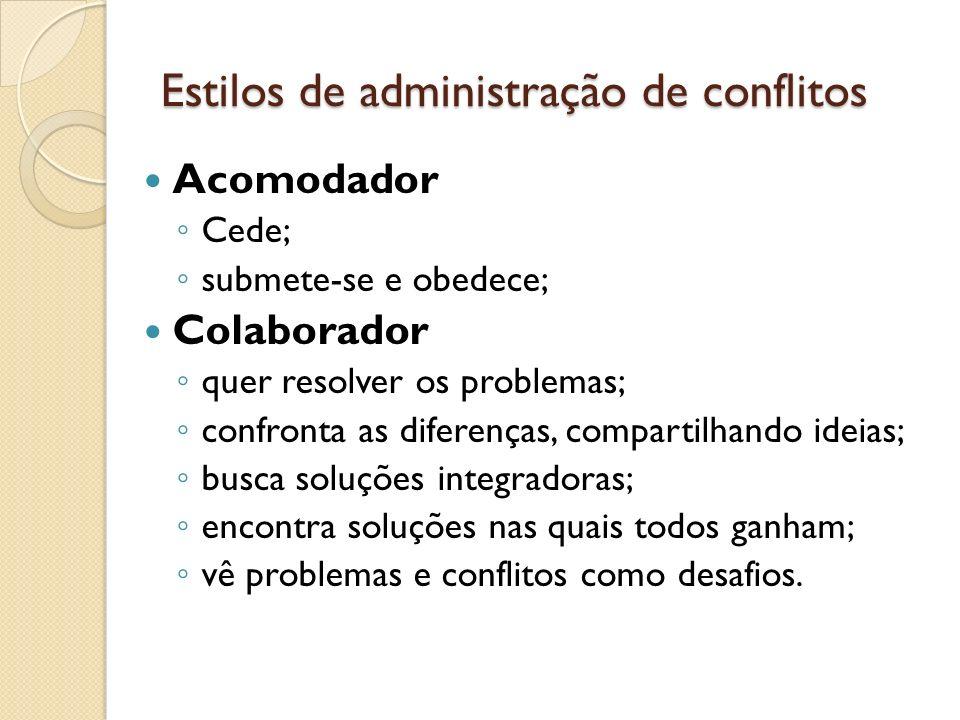 Estilos de administração de conflitos Acomodador Cede; submete-se e obedece; Colaborador quer resolver os problemas; confronta as diferenças, comparti