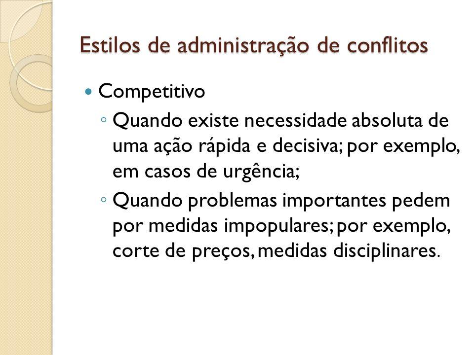 Estilos de administração de conflitos Competitivo Quando existe necessidade absoluta de uma ação rápida e decisiva; por exemplo, em casos de urgência;