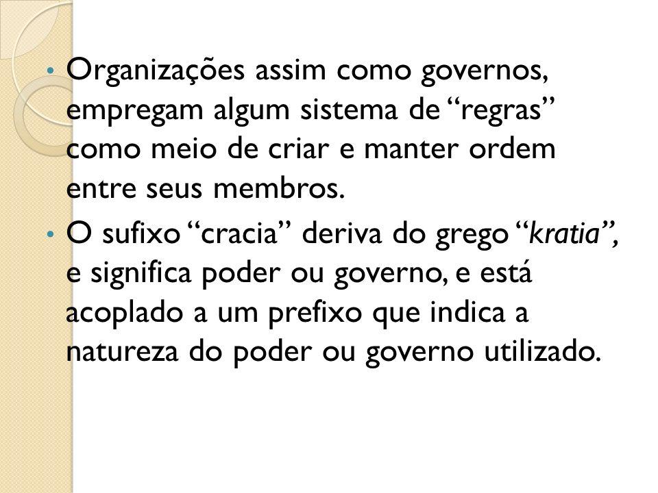 Organizações assim como governos, empregam algum sistema de regras como meio de criar e manter ordem entre seus membros. O sufixo cracia deriva do gre