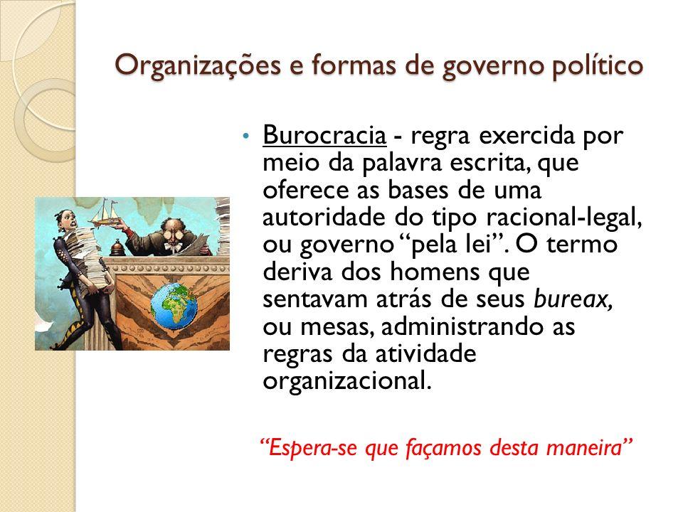 Organizações e formas de governo político Burocracia - regra exercida por meio da palavra escrita, que oferece as bases de uma autoridade do tipo raci