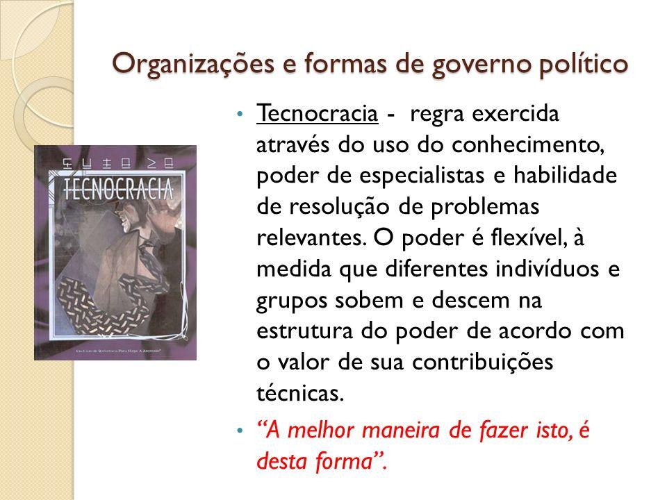 Organizações e formas de governo político Tecnocracia - regra exercida através do uso do conhecimento, poder de especialistas e habilidade de resoluçã