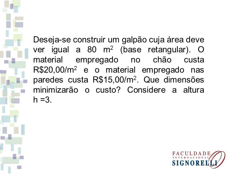 Deseja-se construir um galpão cuja área deve ver igual a 80 m 2 (base retangular). O material empregado no chão custa R$20,00/m 2 e o material emprega