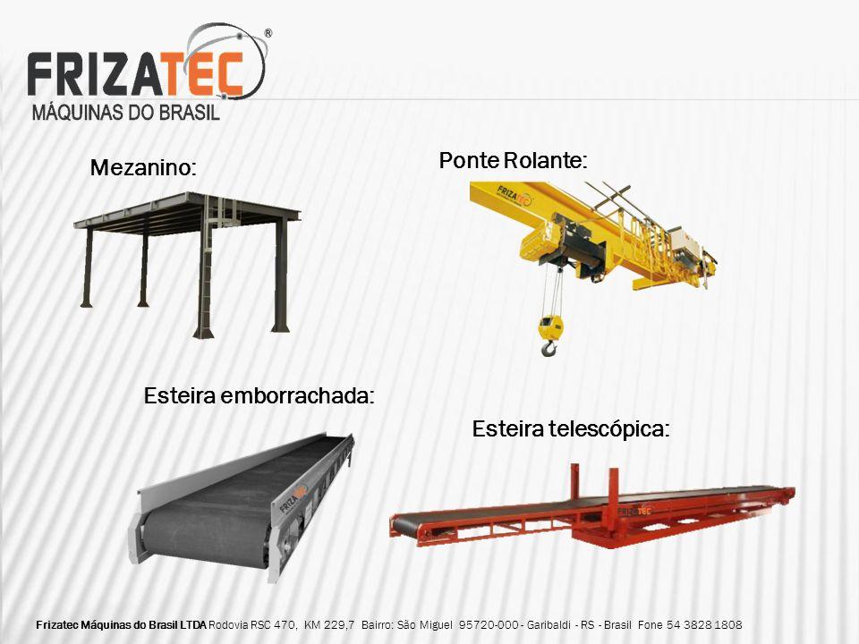 Mezanino: Esteira emborrachada: Ponte Rolante: Esteira telescópica: Frizatec Máquinas do Brasil LTDA Rodovia RSC 470, KM 229,7 Bairro: São Miguel 9572