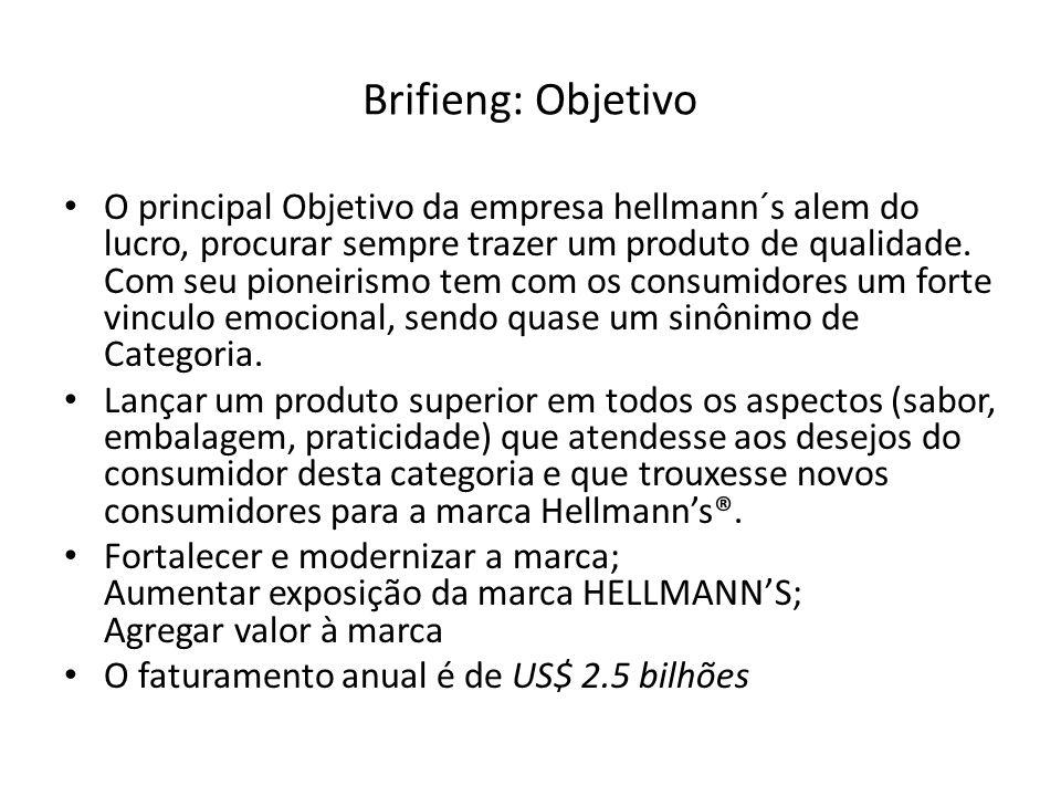 Brifieng: Objetivo O principal Objetivo da empresa hellmann´s alem do lucro, procurar sempre trazer um produto de qualidade.
