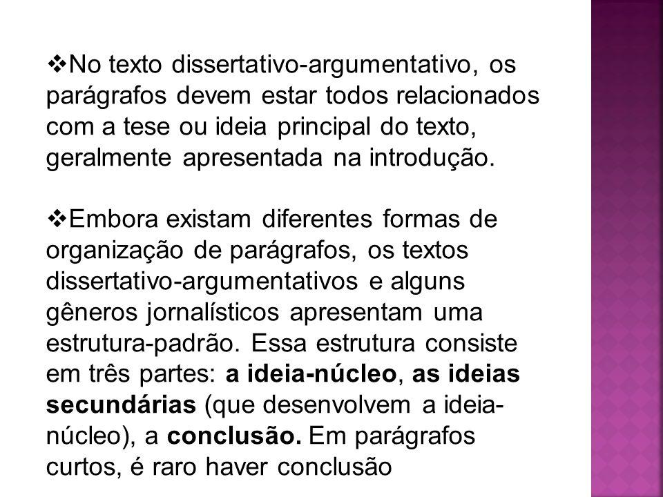 No texto dissertativo-argumentativo, os parágrafos devem estar todos relacionados com a tese ou ideia principal do texto, geralmente apresentada na in