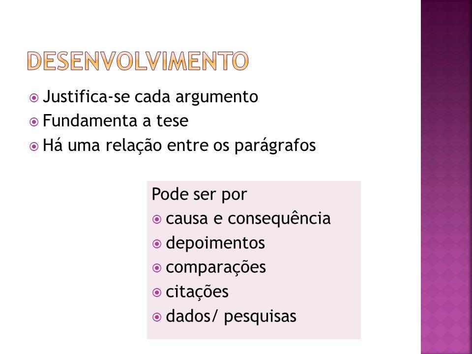 Justifica-se cada argumento Fundamenta a tese Há uma relação entre os parágrafos Pode ser por causa e consequência depoimentos comparações citações da