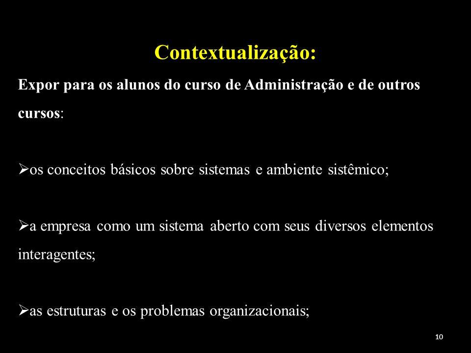Contextualização: Expor para os alunos do curso de Administração e de outros cursos: os conceitos básicos sobre sistemas e ambiente sistêmico; a empre