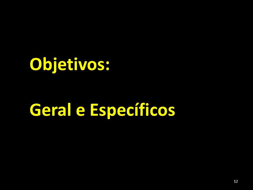 12 Objetivos: Geral e Específicos