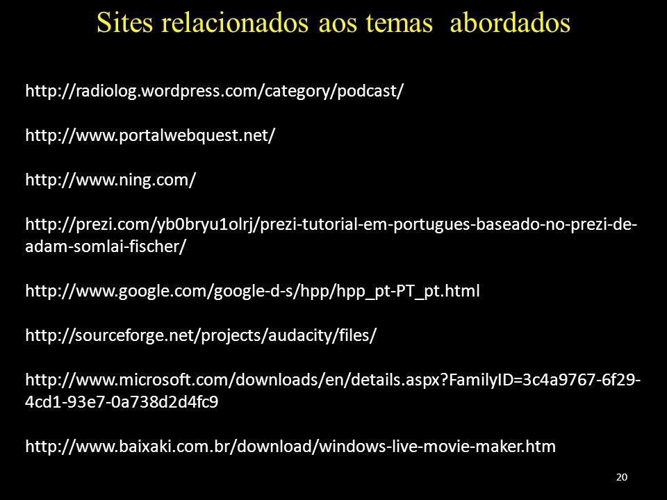 20 Sites relacionados aos temas abordados http://radiolog.wordpress.com/category/podcast/ http://www.portalwebquest.net/ http://www.ning.com/ http://p
