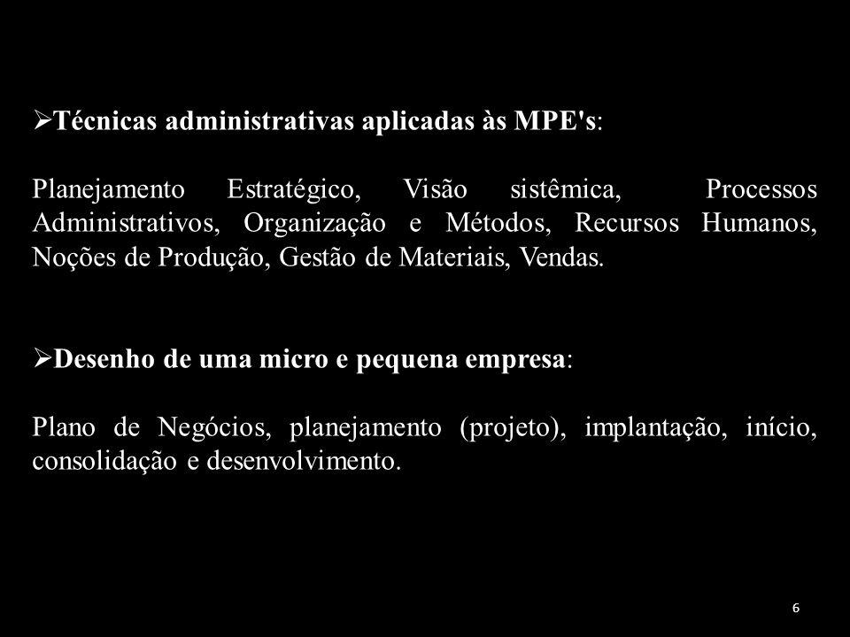 Técnicas administrativas aplicadas às MPE's: Planejamento Estratégico, Visão sistêmica, Processos Administrativos, Organização e Métodos, Recursos Hum