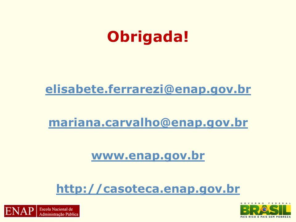 Obrigada! elisabete.ferrarezi@enap.gov.br mariana.carvalho@enap.gov.br www.enap.gov.br http://casoteca.enap.gov.br