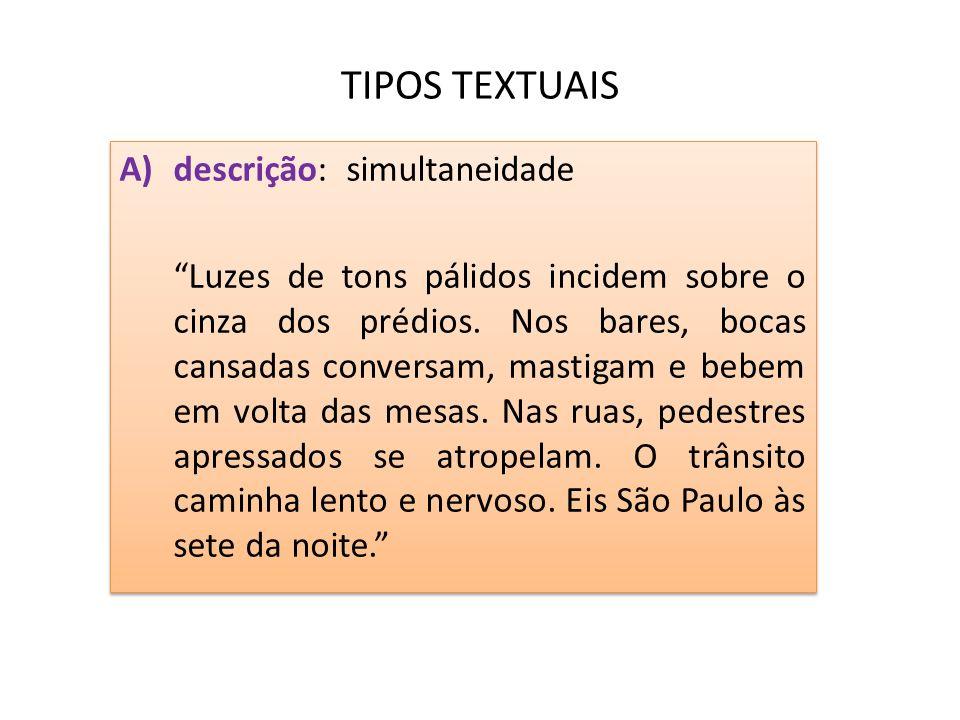 TIPOS TEXTUAIS A)descrição: simultaneidade Luzes de tons pálidos incidem sobre o cinza dos prédios. Nos bares, bocas cansadas conversam, mastigam e be