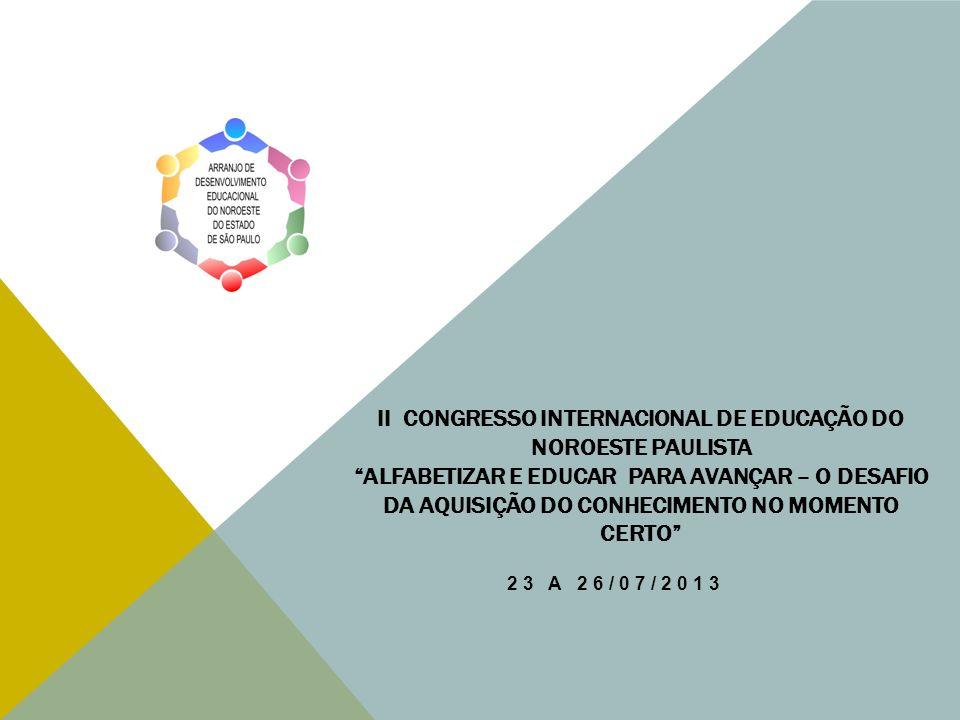 II CONGRESSO INTERNACIONAL DE EDUCAÇÃO DO NOROESTE PAULISTA ALFABETIZAR E EDUCAR PARA AVANÇAR – O DESAFIO DA AQUISIÇÃO DO CONHECIMENTO NO MOMENTO CERT