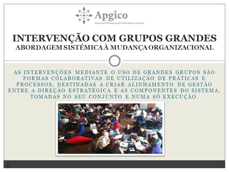 INTERVENÇÃO COM GRUPOS GRANDES ABORDAGEM SISTÉMICA À MUDANÇA ORGANIZACIONAL 1 AS INTERVENÇÕES MEDIANTE O USO DE GRANDES GRUPOS SÃO FORMAS COLABORATIVAS DE UTILIZAÇÃO DE PRÁTICAS E PROCESSOS, DESTINADAS A CRIAR ALINHAMENTO DE GESTÃO ENTRE A DIREÇÃO ESTRATÉGICA E AS COMPONENTES DO SISTEMA, TOMADAS NO SEU CONJUNTO E NUMA SÓ EXECUÇÃO.