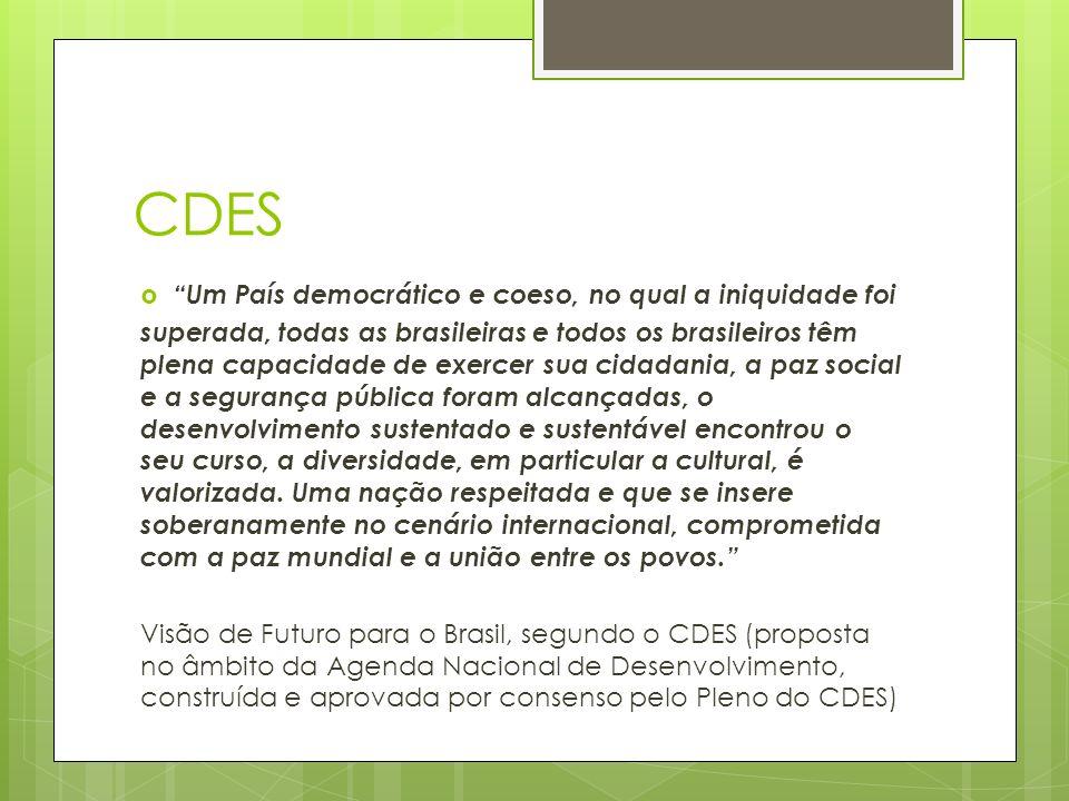 CDES Um País democrático e coeso, no qual a iniquidade foi superada, todas as brasileiras e todos os brasileiros têm plena capacidade de exercer sua cidadania, a paz social e a segurança pública foram alcançadas, o desenvolvimento sustentado e sustentável encontrou o seu curso, a diversidade, em particular a cultural, é valorizada.