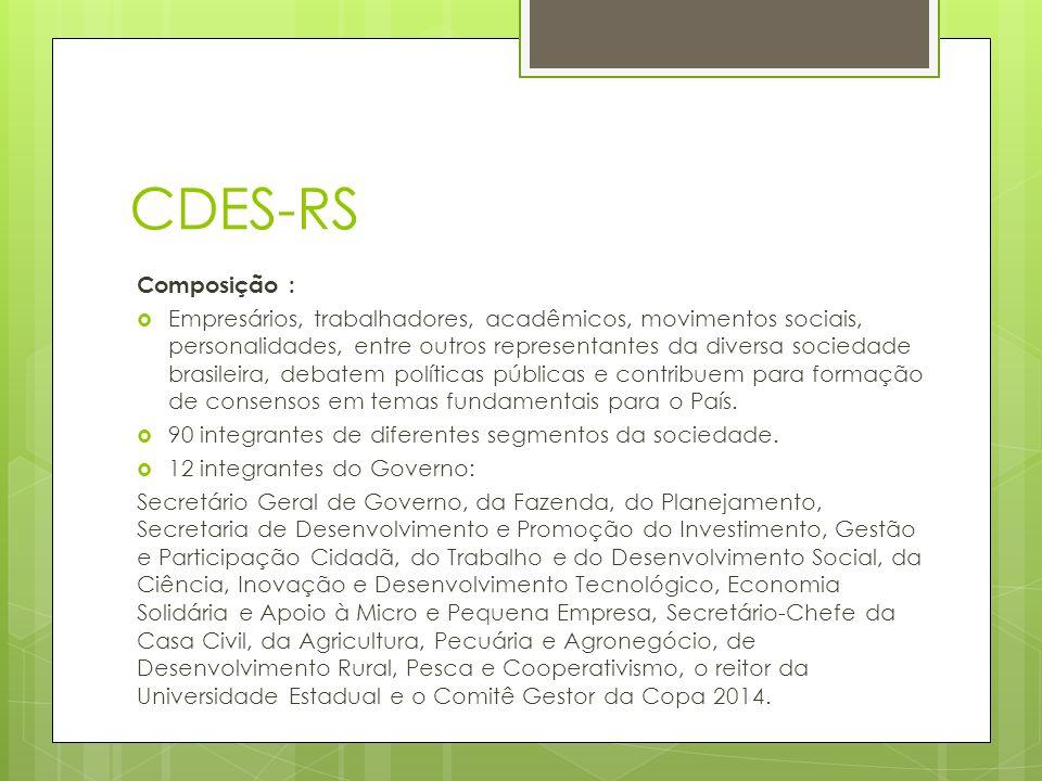 CDES-RS Composição : Empresários, trabalhadores, acadêmicos, movimentos sociais, personalidades, entre outros representantes da diversa sociedade brasileira, debatem políticas públicas e contribuem para formação de consensos em temas fundamentais para o País.