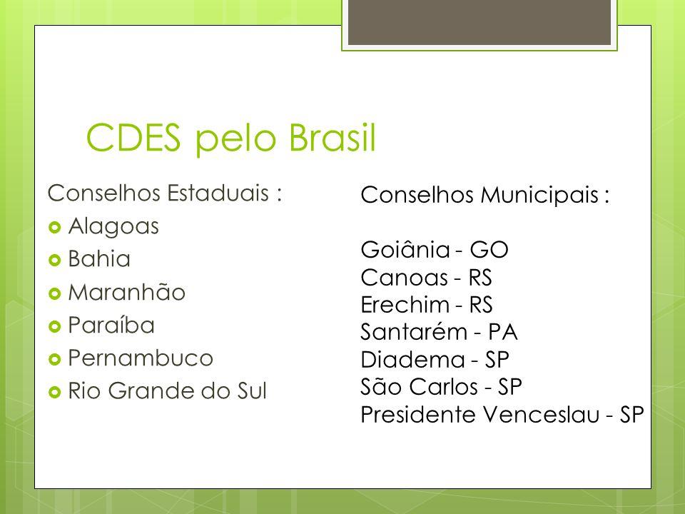 CDES pelo Brasil Conselhos Estaduais : Alagoas Bahia Maranhão Paraíba Pernambuco Rio Grande do Sul Conselhos Municipais : Goiânia - GO Canoas - RS Erechim - RS Santarém - PA Diadema - SP São Carlos - SP Presidente Venceslau - SP