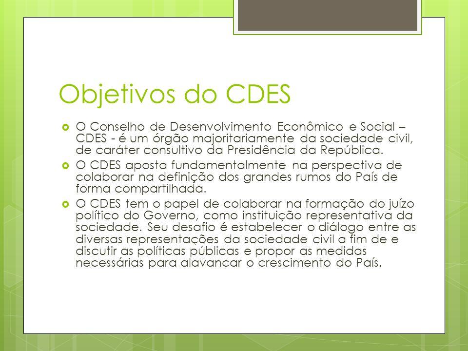 Objetivos do CDES O Conselho de Desenvolvimento Econômico e Social – CDES - é um órgão majoritariamente da sociedade civil, de caráter consultivo da Presidência da República.