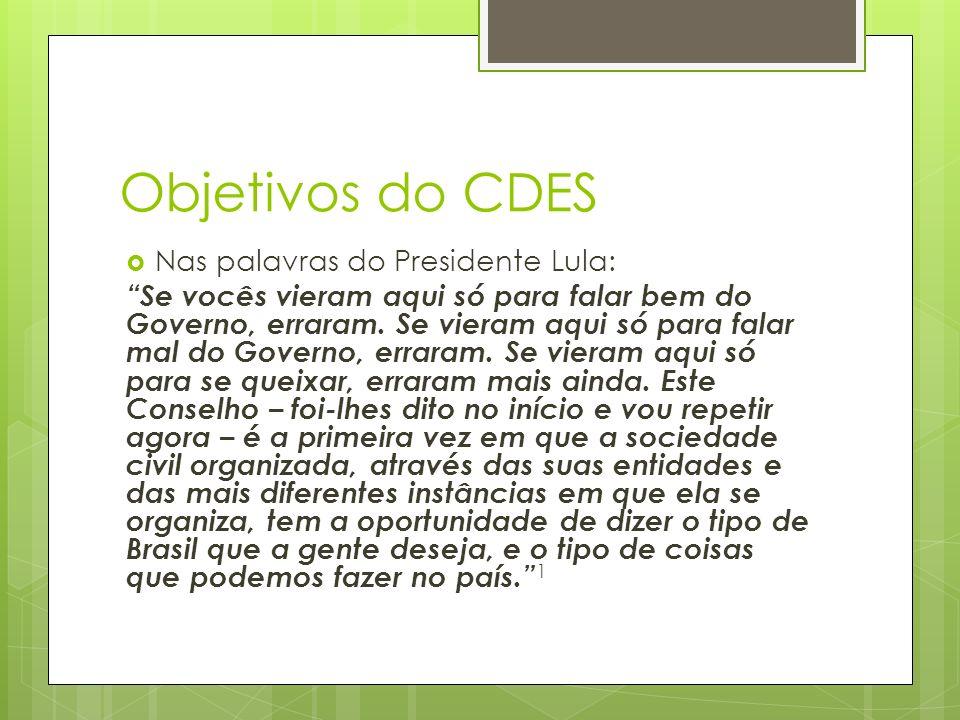 Objetivos do CDES Nas palavras do Presidente Lula: Se vocês vieram aqui só para falar bem do Governo, erraram.