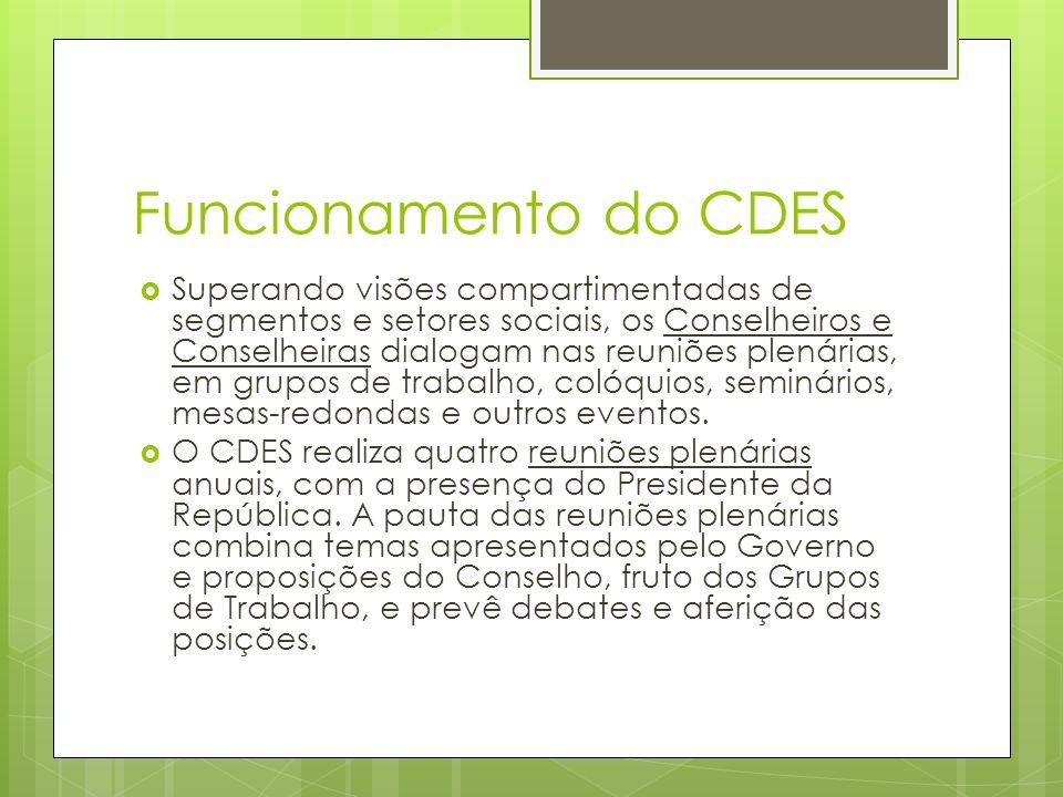 Funcionamento do CDES Superando visões compartimentadas de segmentos e setores sociais, os Conselheiros e Conselheiras dialogam nas reuniões plenárias, em grupos de trabalho, colóquios, seminários, mesas-redondas e outros eventos.