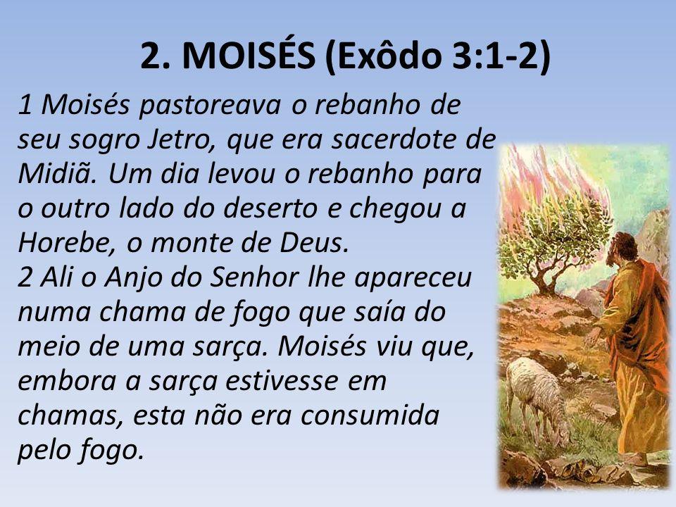 2. MOISÉS (Exôdo 3:1-2) 1 Moisés pastoreava o rebanho de seu sogro Jetro, que era sacerdote de Midiã. Um dia levou o rebanho para o outro lado do dese
