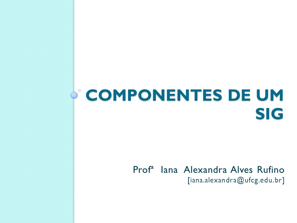 COMPONENTES DE UM SIG Profª Iana Alexandra Alves Rufino [iana.alexandra@ufcg.edu.br]